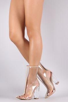 Bamboo Transparent Pointy Toe Chunky Heeled Boots
