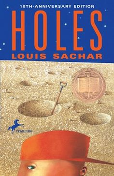 Holes by Louis Sacher  Mystery, outlaws, and an old family curse—this gently absurd and humorous award-winner is packed with plot. You can't help cheering for the unlikely hero, Stanley Yelnats, who is determined to get to the bottom of his rotten luck.