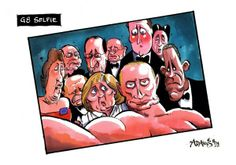 Auch Politiker/-innen koennen Selfie: G8-Selfie von Christian Adams @Adamstoon1 fuer den 'Telegraph' #G8 #selfie #oscars #cartoon