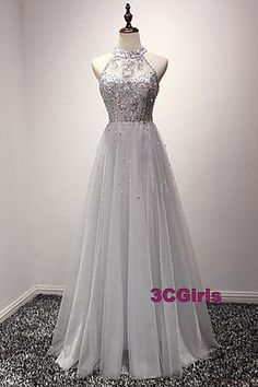 Sequins prom dress, halter prom dress, beautiful grey sequins tulle long evening dress for prom 2017