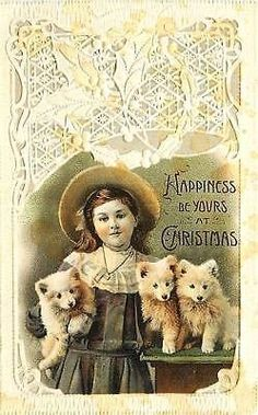 Christmas 1908 Girl Three Puppies Collectible Antique Vintage Embossed Postcard