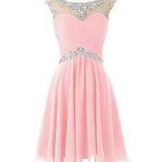 Pink chiffon high neck beads crystal short homecoming dresses prom dress,open back above knee length party gowns graduation dress