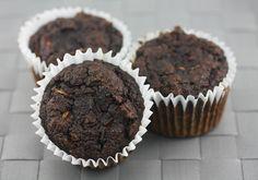 Grain Free Double Chocolate Zucchini Muffins (yes, honey and chocolate chips, but YES!  Zucchini!)