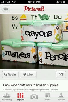 Reusing baby wipe containers to store art supplies-- would work for at home and in a child care center/school