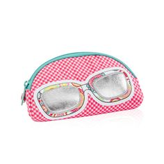 Soft Eyeglass Case / Coral Mini Gingham - A fun, stylish way to carry and protect glasses, or store makeup, pens, pencils and snacks.