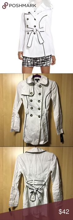 Lightweight Trench Coat A white lightweight trench coat by BCX with black lining details | Double-breasted long sleeve | Belt included | Looks wrinkly only due to storage | Questions welcomed | Photo 1 credit goes to Pinterest Macy's Jackets & Coats Trench Coats