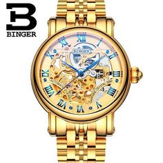 >> Click to Buy << Hollow Brand Luxury Binger Wristwatch Gold Stainless Steel casual personality trend Automatic watch men Orologi hot sale watches #Affiliate