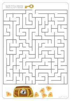 Bludiště - cesta k pokladu 2 Math Helper, Mazes For Kids Printable, Maze Game, Logic Puzzles, Toddler Fun, School Humor, 4 Kids, Games For Kids, Worksheets