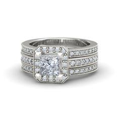 Princess Diamond 14K White Gold Ring with Diamond | Va Voom Ring | Gemvara This ring is so cool!!!!
