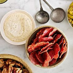 """Salami Chips with Grainy Mustard Dip Recipes from """"Easy Entertaining"""" Reprinted with permission from Salty Snacks by Cynthia Nims"""
