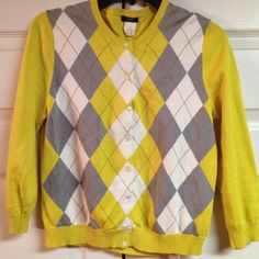 J. CREW Argyle Sweater - MEDIUM This sweater is made of 100% cotton.  Machine Wash Cold - Lay Flat to Dry J. Crew Sweaters Cardigans