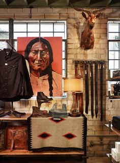 stag provisions at DuckDuckGo Austin Shopping, Tribal Warrior, Masculine Interior, Burning Bridges, Room Store, Modern Hippie, Western Homes, Store Displays, Southwestern Style