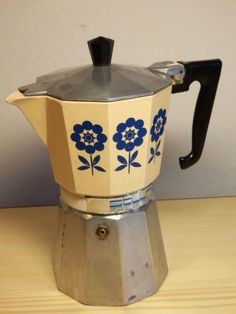 Vintage-Coffee-Espresso-maker-stovetop-Gemelli-Stilnova-Smaltex-350-moka-pot