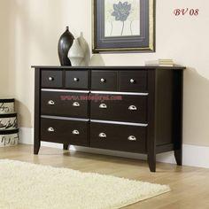 TV stand, dresser, and display shelves combination creates elegant ...