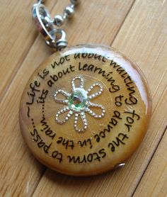 Dancing in the rainbrown shell pendant with chain by lovelywordz, $10.75