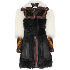 Chloé Leather-trimmed shearling and wool-blend jacquard coat (12,405 AED) ❤ liked on Polyvore featuring outerwear, coats, multi, jacquard coat, sheep fur coat, wool blend coat, chloe coat and multi colored coat