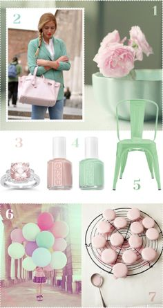 Colour Combo: Pale Pink & Mint Green. Obviously I'm all over the place, but I like these for wedding colors