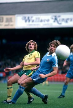 Norwich City 1 Man City 1 in Sept 1978 at Carrow Road. Jimmy Neighbour and Willie Donachie in action in the Division clash. Norwich City Fc, Carrow Road, Stock Pictures, Stock Photos, Bbc Broadcast, Football Program, Manchester City, Image Collection, Division