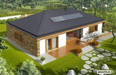 Projekt domu AC EX 8 (wersja B) soft CE - DOM - gotowy koszt budowy Single Floor House Design, Home Design Floor Plans, Small House Design, Beautiful House Plans, Simple House Plans, Beautiful Homes, Village House Design, Kerala House Design, Village Houses