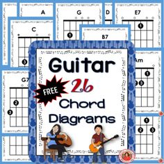 Guitar chords for beginners! Are you teaching guitar? These handy guitar chord charts are free for you to download. There are 26 guitar chord in the set! ♫ CLICK through to read more and download or Re-PIN for later! ♫