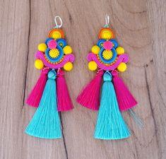 Colorful Tassel Earrings, Long Soutache Earrings, Pom Pom Earrings, Tassel Earrings with Pompoms, Soutache Earrings Soutache Earrings, Flower Earrings, Tassel Earrings, Clip On Earrings, Diy Tassel, Tassels, Piercings, Angel Wing Earrings, Embroidery Techniques