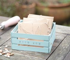 This adorable little container is just as simple as it looks. All you need is a pack of lollipop sticks, a lick of paint and a handful of letter stamps to create a versatile box to use for a multitude of treasures and trinkets.