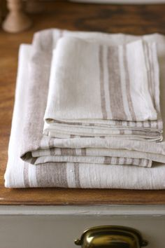 Natural & Cream Striped Linen Runner