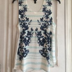 J CREW SWING TANK IN PHOTO FLORAL - Worn Once WORN ONCE. 100% linen. Pristine Condition.  Graphic photos-realistic floral on stripes. Adorable! White/Navy Blue/Light Blue.  Size Medium. J. Crew Tops Tank Tops