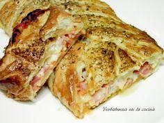 Trenza de jojaldre con jamón,queso y bacon