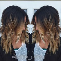 High contrast stretched root balayage ombre. Fall hair color. Hair by Rachel Fife