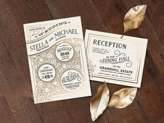 We can't help but swoon over this gold and black wedding invitation. It is classy, refined and eye catching all in one! | Click here for a chance to win a full wedding suite from Minted valued at $900: http://www.mywedding.com/articles/noteworthy-sweepstakes-with-minted/