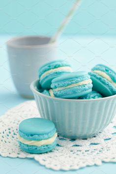 Blue Aesthetic Discover Check out Light blue macarons by foodphotolove on Creative Market Light Blue Aesthetic, Blue Aesthetic Pastel, Aesthetic Colors, Macaron Bleu, Blue Feed, Imagenes Color Pastel, Buttercream Filling, Blue Pictures, Mint Blue