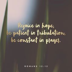 """Rejoice in hope, be patient in tribulation, be constant in prayer."" ‭‭Romans‬ ‭12:12‬ ‭ESV‬‬ http://bible.com/59/rom.12.12.esv"