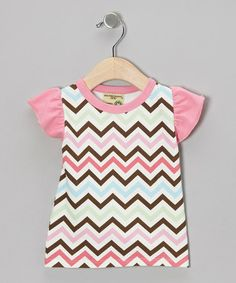Loving this Light Pink Zigzag Organic Angel-Sleeve Tee - Infant & Toddler on #zulily! #zulilyfinds
