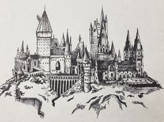 x print of a drawing of Hogwarts on 67 lb white paper. Each is individually signed with archival ink. Additional paper color and sizing options available upon request. Harry Potter Library, Harry Potter Journal, Harry Potter Quilt, Harry Potter Fan Art, Harry Potter Drinks, Doodle Art Drawing, Art Drawings, Epic Tattoo, Contour Drawing