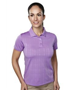 Tri Mountain Ultracool 100% Polyester Tonal Plaid Jacquard Polo Shirt Tri mountain 021 #Polyester #polo #Jaquard
