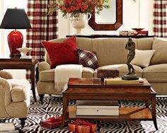 Love decorating with Tartan plaids.I want plaid curtains for the holidays! Beige Living Rooms, Living Room Red, Home And Living, Living Room Decor, Living Spaces, Plaid Curtains, Curtains Living, Country Decor, Decoration