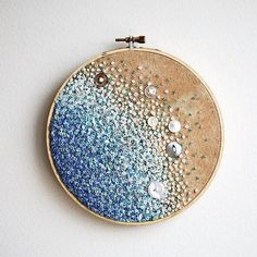 Calm Blue Sea - Gradient Embroidery Hoop Art - French Knots, Beads, and Vintage Buttons.via Etsy. Calm Blue Sea - Gradient Embroidery Hoop Art - French Knots, Beads, and Vintage Buttons.via Etsy. Embroidery Designs, Embroidery Hoop Crafts, Hand Embroidery Patterns, Ribbon Embroidery, Beaded Embroidery, Embroidery Stitches, Cross Stitches, Machine Embroidery, Tatting Patterns