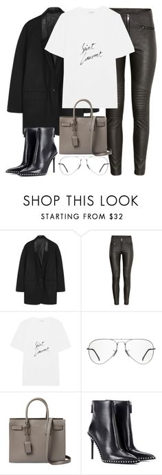 """""""Untitled #3155"""" by elenaday on Polyvore featuring rag & bone, H&M, Yves Saint Laurent, Ray-Ban and Alexander Wang"""