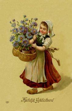 niña con canastao de flores