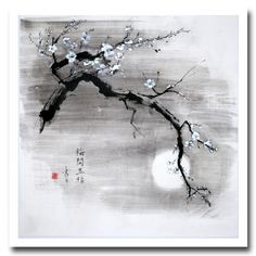 "Image detail for -Drawings, ""Night Scented"" sumi-e, Page Contemporary Art Japanese Ink Painting, Sumi E Painting, Chinese Painting, Chinese Art, Chinese Drawings, Art Drawings, Japanese Tree, Art Asiatique, Art Japonais"