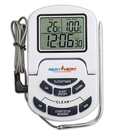 Meat Thermometer with Stainless Steel Probe on Braided Steel Cable- For Use in Oven, Grill or BBQ - Perfect cooking/roasting/baking results - Timer, Alarm and Clock Functions - Easy Read Digital Display. Meat Heat http://www.amazon.co.uk/dp/B012DS2ZY0/ref=cm_sw_r_pi_dp_gP00vb00ZF4XG