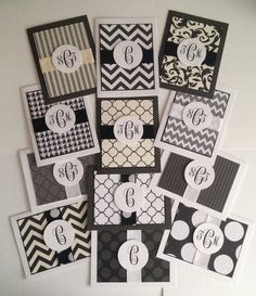 handmade cards: CUSTOM MONOGRAM CARDS (12 pack, includes gift bag and tissue) ... black and white ... from JBorkowskiDesigns ...