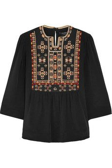 Isabel Marant Roma embroidered silk blouse | NET-A-PORTER