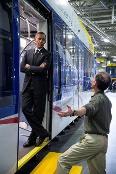 President Barack Obama Stands in the Doorway of a New Light Rail Car as he Talks to an Employee at the Metro Transit Light Rail Operations and Maintenance Facility February 2014 in St. First Black President, Mr President, Black Presidents, American Presidents, Joe Biden, Barack Obama Family, Durham, Barrack Obama, Michelle And Barack Obama