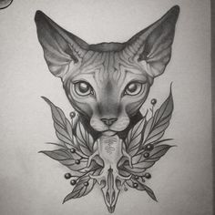 Cats Illustration Tattoo Artists Ideas For 2019 Cat Tattoo Designs, Tattoo Designs For Girls, Sphinx Tattoo, Sphinx Cat, Geniale Tattoos, Desenho Tattoo, Tattoo Drawings, Tattoo Cat, Cat Tattoos