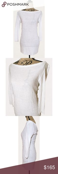 L'AGENCE White Boatneck Tiered Sheer Blouse Size Small, 100% Viscose, NWOT. L'AGENCE Tops Blouses