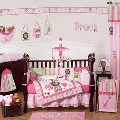 Illuminated sock monkey crib bedding collection