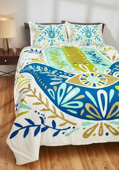 Vine to Call It a Night Duvet Cover in Full/Queen. When the efforts of the day ease your energy levels into slumber, youll be happy to know this duvet cover designed by Cat Coquillette has been waiting. #multi #modcloth
