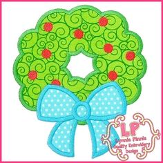 Wreath Bow Applique - 5 Sizes! | What's New | Machine Embroidery Designs | SWAKembroidery.com Lynnie Pinnie